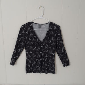 Ann Taylor Loft Knit Black White Mid Sleeve V-Neck